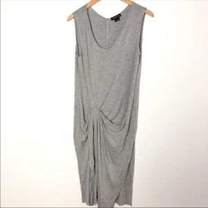 Trouve Size XS Grey Ruched Fitted Dress